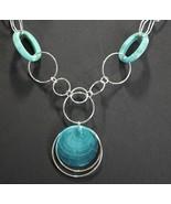 Avon Long Link Pendant Necklace Turquoise 2009  - $17.09