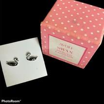 Vintage Avon Swan Pierced Earrings 1981 Surgical Steel Posts NIB NOS - $9.89