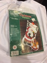 "Bucilla Santa & Rocking Horse Felt / Jeweled 15"" Christmas Stocking Kit 32968 - $20.82"