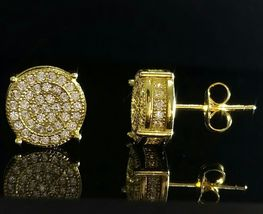 Women's Unique Stud Earrings 14k Yellow Gold Plated 925 Silver Round Cut Diamond - $89.56