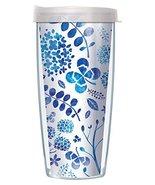 Blue Watercolor Floral Wrap Traveler 16 Oz Tumbler Mug with Lid - $17.95