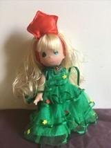 "Precious Moments Christmas Tree 7"" Doll Blonde Tree-Mendously Precious - $11.75"