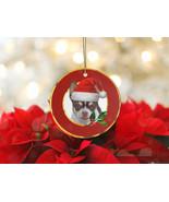 Christmas Chihuahua Dog Ceramic Holiday Round Ornament - $15.50
