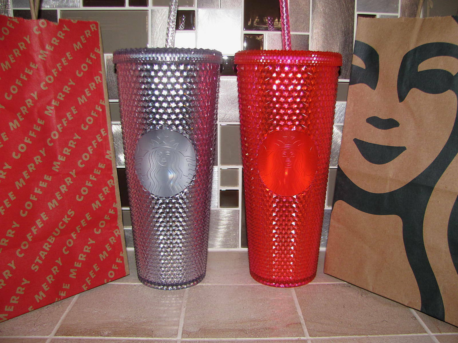 Primary image for Starbucks Studded 24oz Tumbler Platinum + Neon Pink 2019 Christmas set of 2 NEW