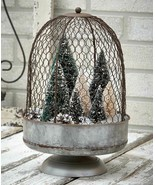 Large Rustic Country Chicken Wire Farmhouse Cloche Centerpiece Display S... - $24.73
