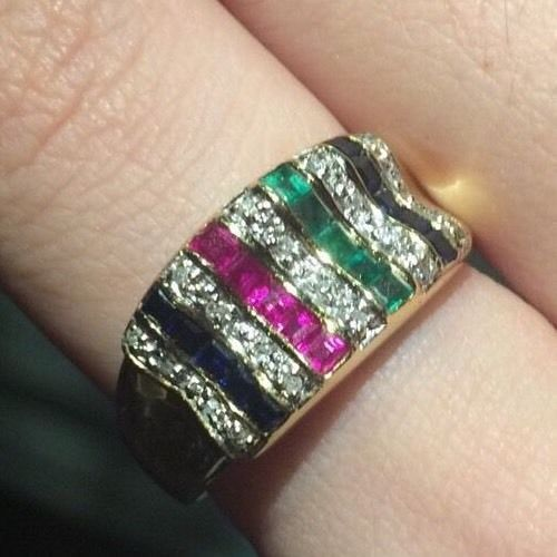 14K Yellow Gold 1.16ct Sapphire Emerald Ruby Excellent Cut Diamonds Ring Sz9
