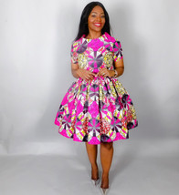 NEW IN :African print handmade dress,African clothing,pink cocktail dres... - $150.00