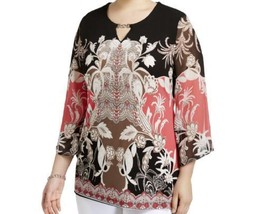 JM Collection Womens Sheer Embellished Blouse Polyester Tunic Shirt Size... - $10.49