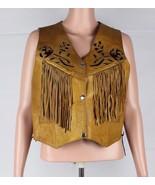 Leather Club women's vintage genuine leather vest motorcycle club brown ... - $41.66