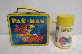 Vintage 1980 Pacman Tin Lunch Box With Thermos  - $98.99