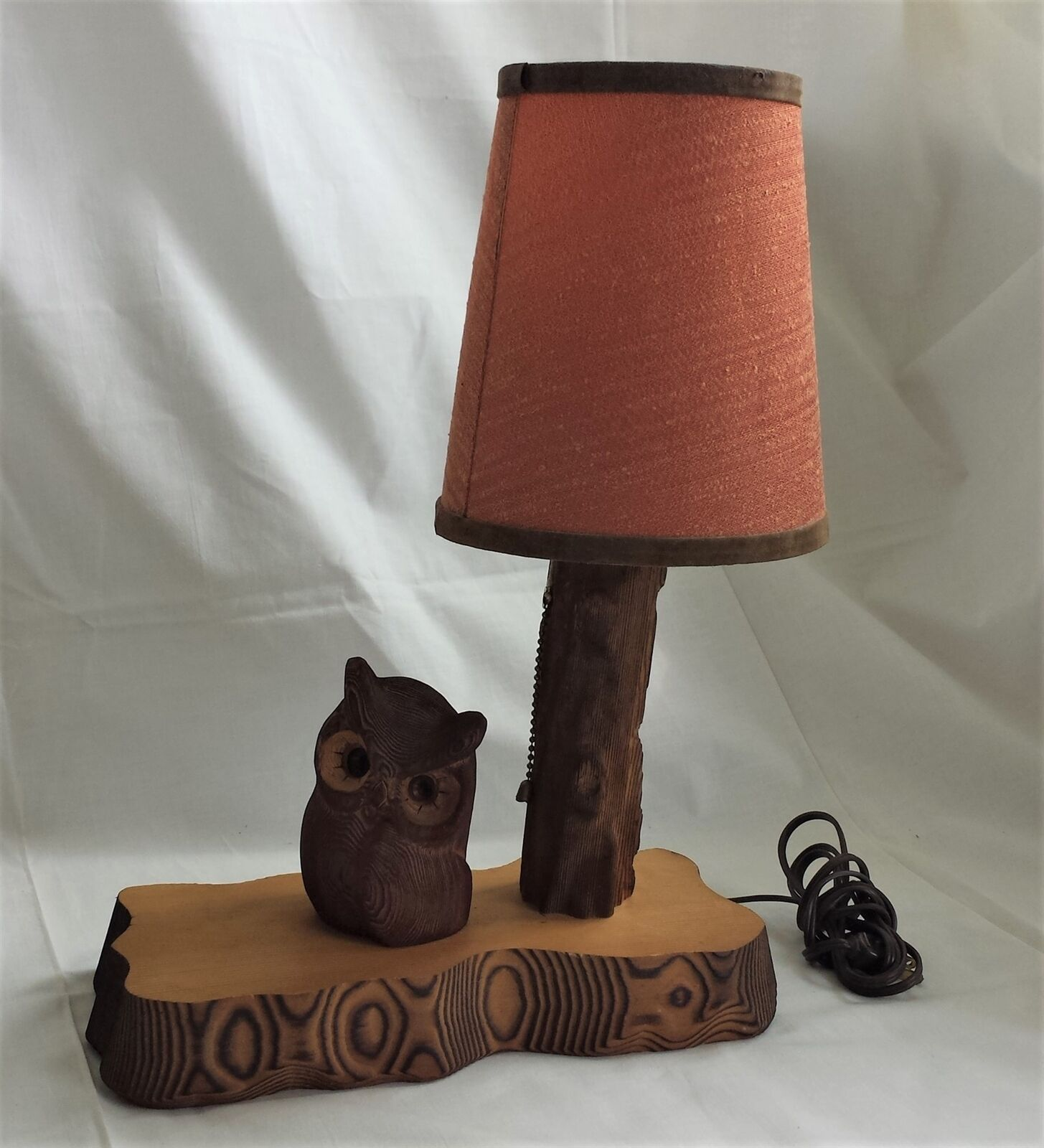 Primary image for vintage Wood Hand Carved OWL TABLE LAMP electric figural Kadian Crafts Canada