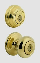 Kwikset Juno Polished Brass Entry Knob and Single Cylinder Deadbolt Outdoor - $59.99