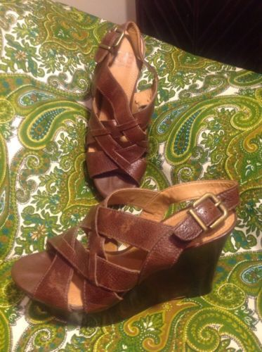8a9ca914d1 12. 12. Previous. GIANNI BINI OH SNAP BROWN STRAPPY SLING WOMEN'S LEATHER  WOODEN WEDGE HEELS 7M