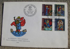 Switzerland FIRST DAY OF ISSUE STAMP Cover 1969 Pro Patria block of 4 - $9.98