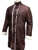 Mens King Arthur Legends Sword Charlie Hunnam Fur Shearling Brown Leather Coat image 2