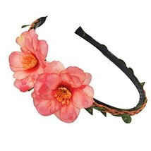 3 Pcs Elegant Red Peach Woven Cloth Hair Bands Headdress