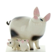 Hagen Renaker Farm Pig Black and White Papa and Piglets - Set of 3