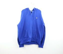 Vtg 90s Polo Ralph Lauren Mens XL Stitched Logo Button Hoodie Sweatshirt Blue - $98.95