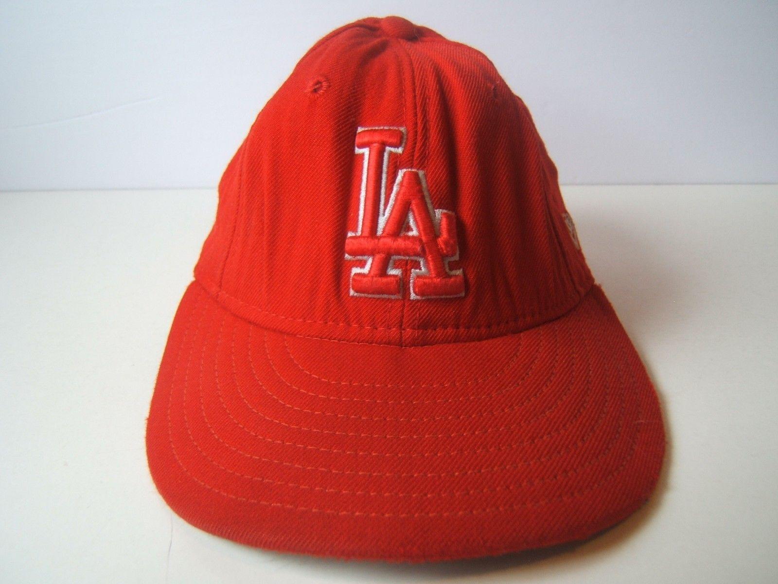 Los Angeles Dodgers LA Hat Red 6 7/8 54.9cm Fitted New Era MLB Baseball Cap