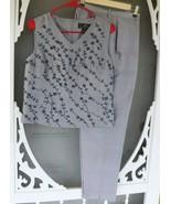 British Khaki Women's Gray Silk Pant Suit w/ Bead Embellished Top SZ 4 - $24.99