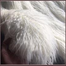 Luxury White or Pink Long Hair Mongolian Sheep Faux Fur Medium Long Coat Jacket image 3