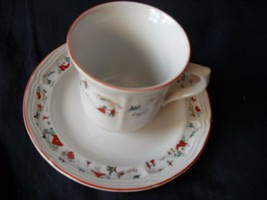 Katherine Babonovsky White Christmas cup and saucer (6 sets available) - $13.99