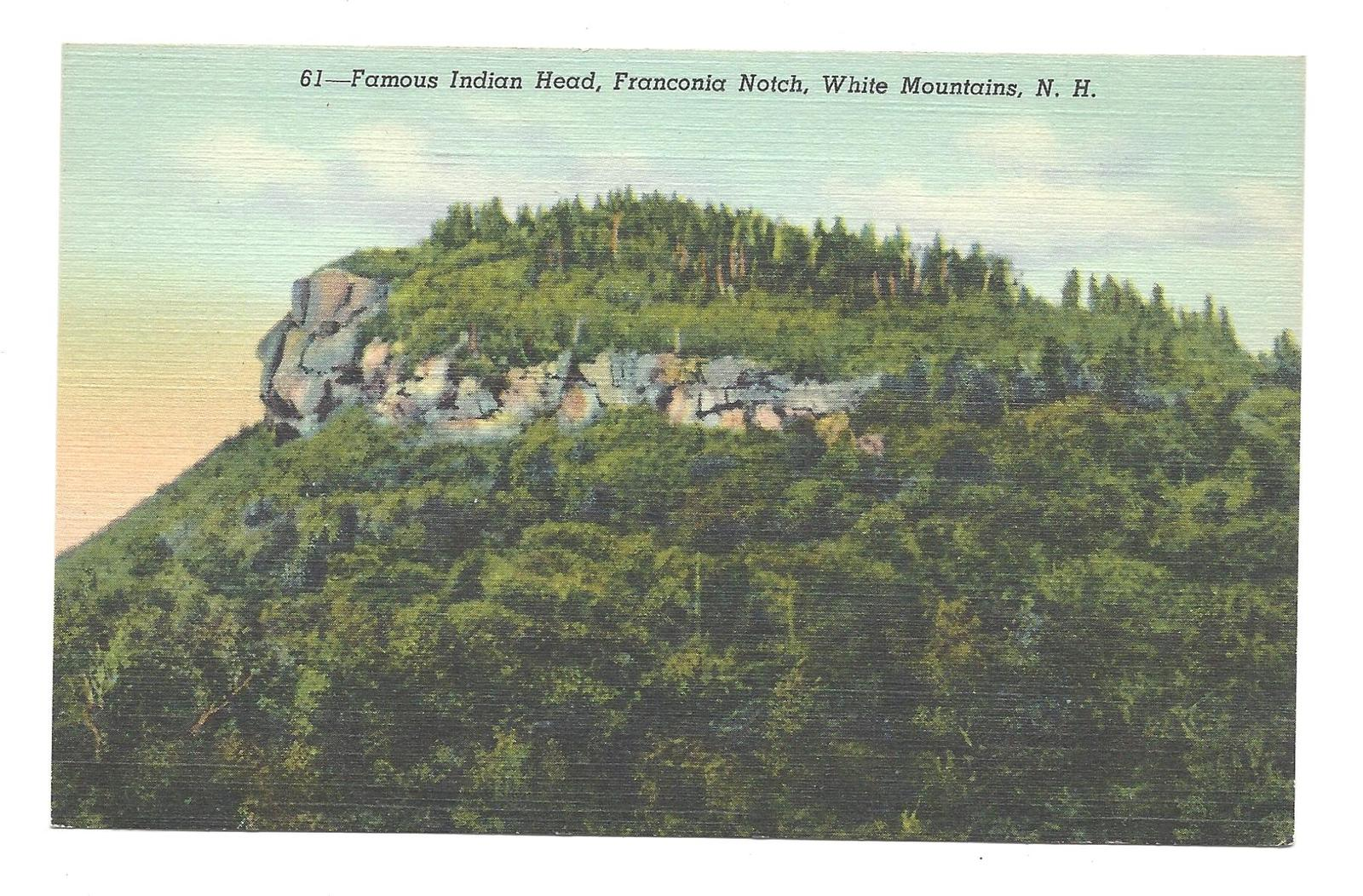 Indian Head Franconia Notch White Mountains NH Vintage Linen Postcard