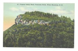 Indian Head Franconia Notch White Mountains NH Vintage Linen Postcard - $4.99