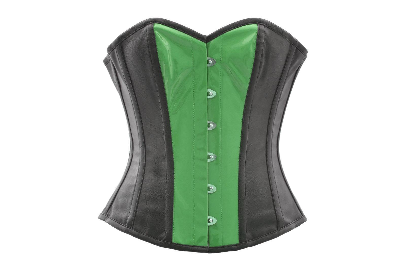 Black Leather & Green PVC Steampunk Bustier Waist Training Overbust Corset Top