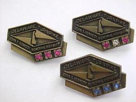 Set of three Delaware Turnpike Vintage JFK Memorial Highway Service Pin ... - $148.49