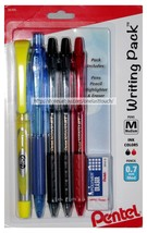 PENTEL* 6pc Set WRITING PACK Highlighter+Mechanical Pencil+Pens+Eraser B... - $3.47