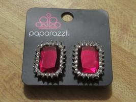Paparazzi Jewelry Earrings / Ruby and Rhinestone Clip On (B2) - $7.50