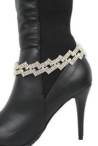 Women Western Boot Bracelet Gold Metal Chain Shoe Bling Squares Beads Band Charm - $18.61
