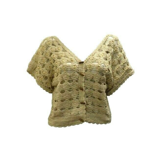 Primary image for BOHO HIPPIE RETRO UPCYCLED VINTAGE CROCHET COTTON BUTTON UP SHRUG FREESIZE CREAM