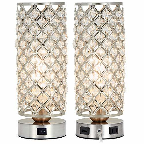Primary image for Crystal Table Lamp Set of 2 with USB Charging Port,Decorative Nightstand Room La