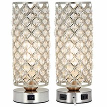 Crystal Table Lamp Set of 2 with USB Charging Port,Decorative Nightstand Room La
