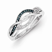 STERLING SILVER BLUE & WHITE DIAMOND FREE FORM SWIRL  INFINITY RING - SI... - £102.00 GBP