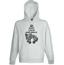 Chinese crested dog - keep calm and walk b - NEW COTTON GREY HOODIE  - $31.88