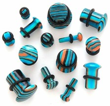 PAIR-Stone Agate Blue Stripe Single Flare Ear Plugs 04mm/6 Gauge Body Je... - $7.49