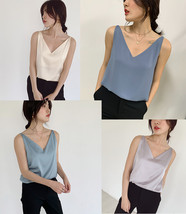 Silver Blue White Sleeveless Chiffon Tank V-Neck Sleeveless Chiffon Casual Tops image 1