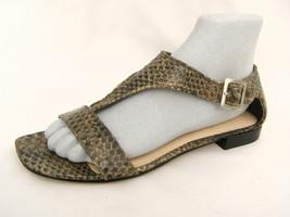 Women's 7½M Sandals Nine West T-Strap Snake Skin Print Heel Cup Browns V... - €14,55 EUR