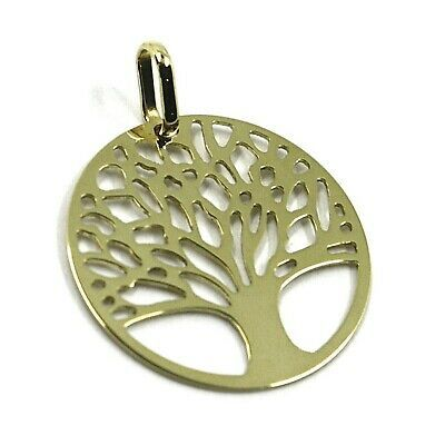 9K YELLOW GOLD PENDANT, FLAT TREE OF LIFE, DISC DIAMETER 17 MM, 0.67 INCHES