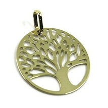 9K YELLOW GOLD PENDANT, FLAT TREE OF LIFE, DISC DIAMETER 17 MM, 0.67 INCHES - $44.55