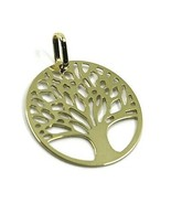 9K YELLOW GOLD PENDANT, FLAT TREE OF LIFE, DISC DIAMETER 17 MM, 0.67 INCHES - $45.00