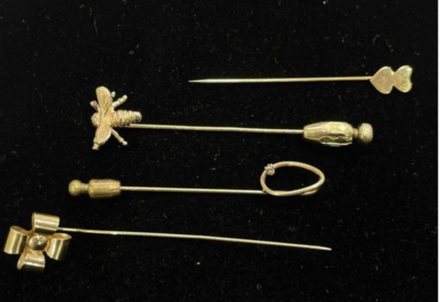Lot (4) Vintage 14k Yellow Gold Stick Hat Pin Bow Bumble Bee Hearts 4.7 grams