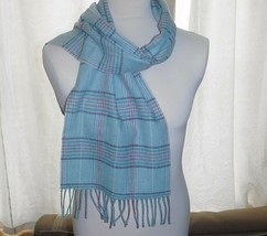 JAMES PRINGLE WEAVERS 100% WOOL PALE BLUE PLAID CHECK TARTAN SCARF FRINGED - $17.60