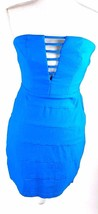 Trixxi Strapless Mini Dress Solid Blue Juniors Sz 9 Bodycon Stretch V Ne... - $5.89