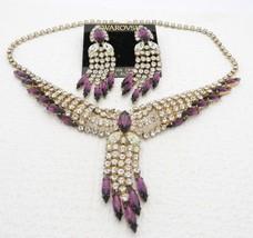 Vtg 604ms Swarovski Silberton Klar Violett Strass Halskette Ohrring Set - $99.00