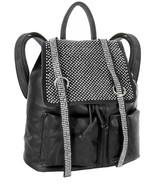 Rhinestone Accent Multi Pocket Tall Fashion Backpack Black Ladies Large New - $43.49