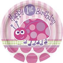 "1st Birthday Ladybug Pink 7"" Cake Dessert Cake Plates 8 ct - $2.49"